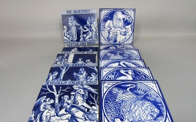 A collection of six late 19th century Minton blue and white ...