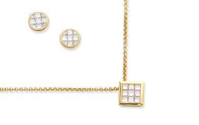 A diamond pendant necklace and a pair of diamond earstuds