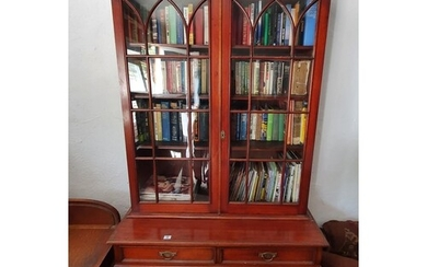 A late 19th Century Mahogany two door Bookcase with glazed u...