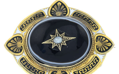 A late 19th century banded agate, split pearl and enamel mourning brooch.