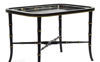 A modern Vaughan lacquered and japanned tray top occasional ...