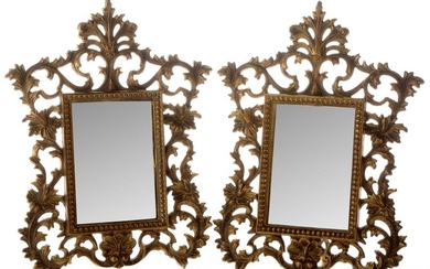 A pair of gilt metal easel mirrors
