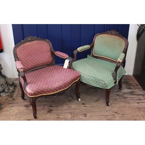 A pair of late 19th century French design mahogany chairs re...