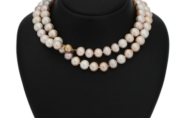NOT SOLD. A pearl necklace set with numerous cultured freshwater pearls and clasp of 14k...