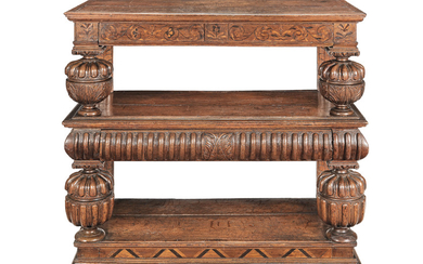 A rare Elizabeth I joined oak and marquetry-inlaid three tier buffet, Home Counties, circa 1580