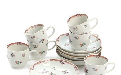 A set of six Chinese export Famille Rose coffee cups and saucers. 18th century. (6)