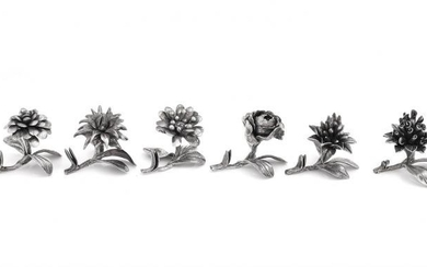 A set of six silver coloured flower place card holders by Fabbrica Argenteria Fiorentina