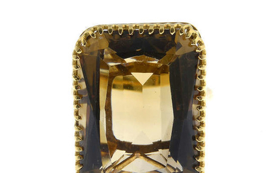 A smoky quartz dress ring.