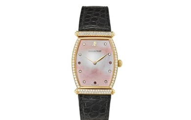 AUDEMARS PIGUET | CARNEGIE A YELLOW GOLD, DIAMOND AND RUBY-SET WRISTWATCH WITH PINK MOTHER-OF-PEARL DIAL, CIRCA 2000