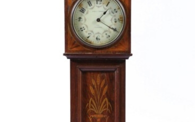Aird & Thompson Glascow Miniature Grandfather Clock with Key (H:46cm), marked S F to Back of Movement