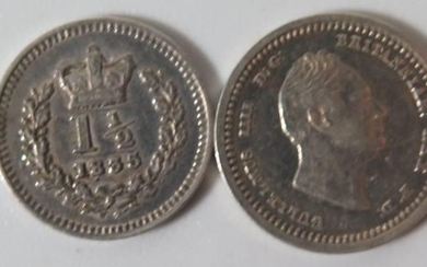 An 1834 Two Pence and 1835 One and Half Pence, EF+