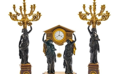 An Empire Gilt and Patinated Metal and Rouge Marble