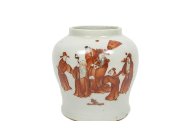 An iron-red enamelled vase