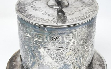 Antique Silver Plate Tea Caddy or Biscuit Jar