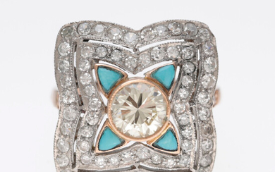 Art Déco style diamonds and turquoises ring.