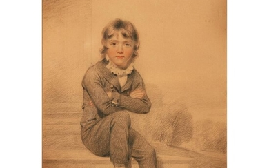 BENJAMIN BURNELL (BRITISH 1769-1828) FULL LENGTH PORTRAIT OF A BOY SEATED ON STEPS