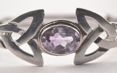 Boxed EDINBURGH silver Celtic bangle set with a amethyst sto...