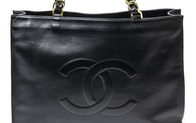 CHANEL CC SMOOTH BLACK LEATHER SHOPPING TOTE