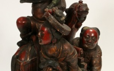 CHINESE CARVED WOOD LACQUERED SCULPTURE 19TH C 19