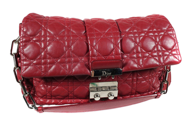 "CHRISTIAN DIOR, ""Cannage"" Quilted Red Leather Bag"