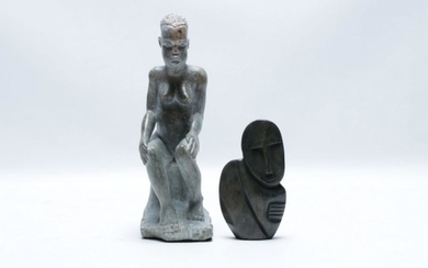 Carved Soapstone African Man H: 26cm Together With A Soapstone Figural Group L:14cm
