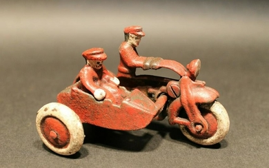 Cast Iron Toy Motorcycle with side car 2 riders
