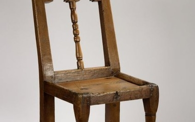 Chair in cembro pine with a turned front...