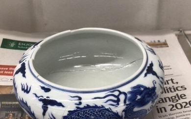 Chinese Blue and White Porcelain Washer,Repair
