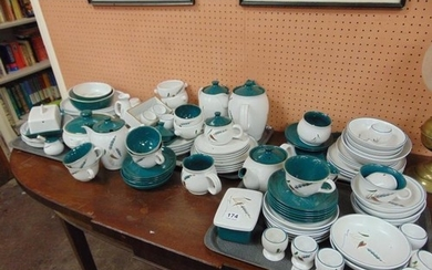 Comprehensive Denby Green Wheat tea and dinner service.