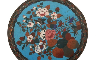 NOT SOLD. A C. 1900 Japanese cloisonné enamel dish, decorated in colours with flowers and...