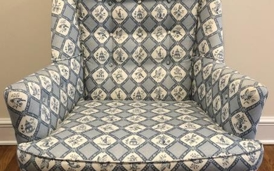 Custom Upholstered Toile Style Wing Chair