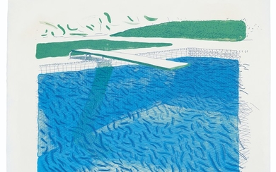 DAVID HOCKNEY (B. 1937), Lithographic Water Made of Lines, Crayon, and Two Blue Washes