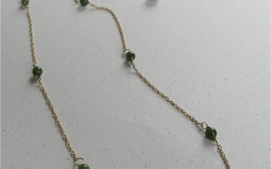 Dainty vintage Jade bead 14k yellow gold necklace and dangle earrings GC3A
