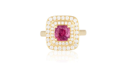 Description A COLOURED SAPPHIRE AND DIAMOND RING The cushion-shaped...