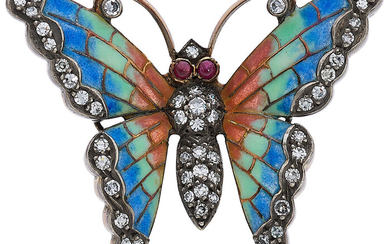 Diamond, Ruby, Enamel, Gold Brooch The butterfly brooch features...