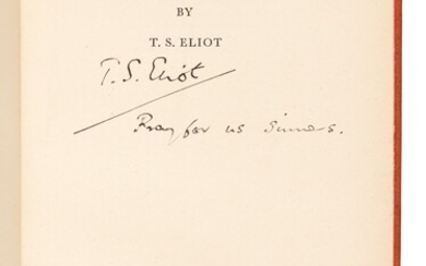 ELIOT | Ash Wednesday, 1930, inscribed