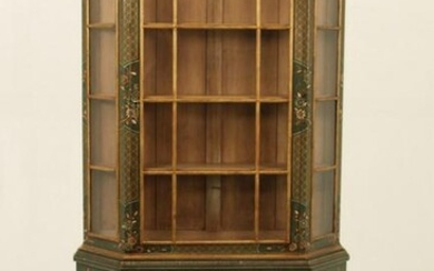 ENGLISH CHINOISERIE GREEN LAQUERED BOOKCASE