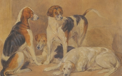 ENGLISH SCHOOL, 19TH CENTURY | FOUR FOX HOUNDS
