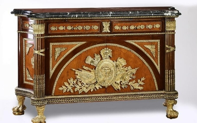Empire style bronze mounted marquetry buffet