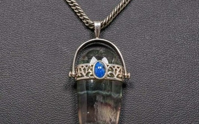 English A&C Sterling Silver, Agate & Lapis Pendant