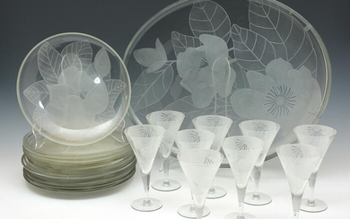 Floral Etched Glass Dinner Service