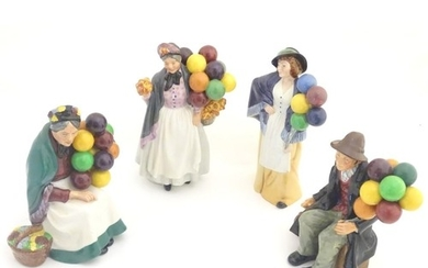 Four Royal Doulton balloon figures: The Old Balloon Seller, ...