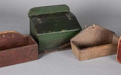 Four painted hanging wall boxes