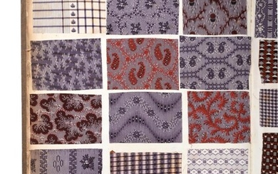 French Fabric Sample Book, 19th century Enclosing printed cotton designs...