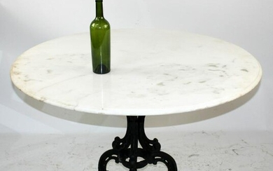 French cast iron tri-ped base gueridon with marble top