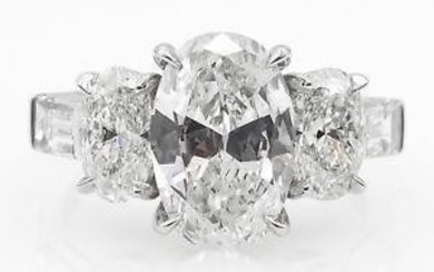 GIA 3.45ct Estate Vintage Oval Cut Diamond Three Stone
