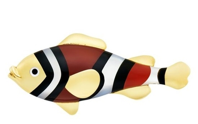 Gold, Carnelian, Black Jade and Mother-of-Pearl Fish Brooch, Tiffany & Co.
