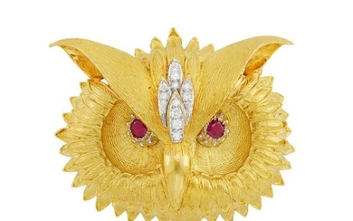 Gold, Diamond and Garnet Owl Pendant-Brooch, Hammerman Brothers