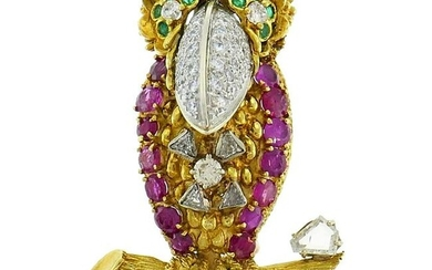 Gold Parrot Bird Brooch Pin Clip with Diamond Ruby