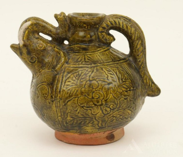 Green Glazed Earthenware Vessel